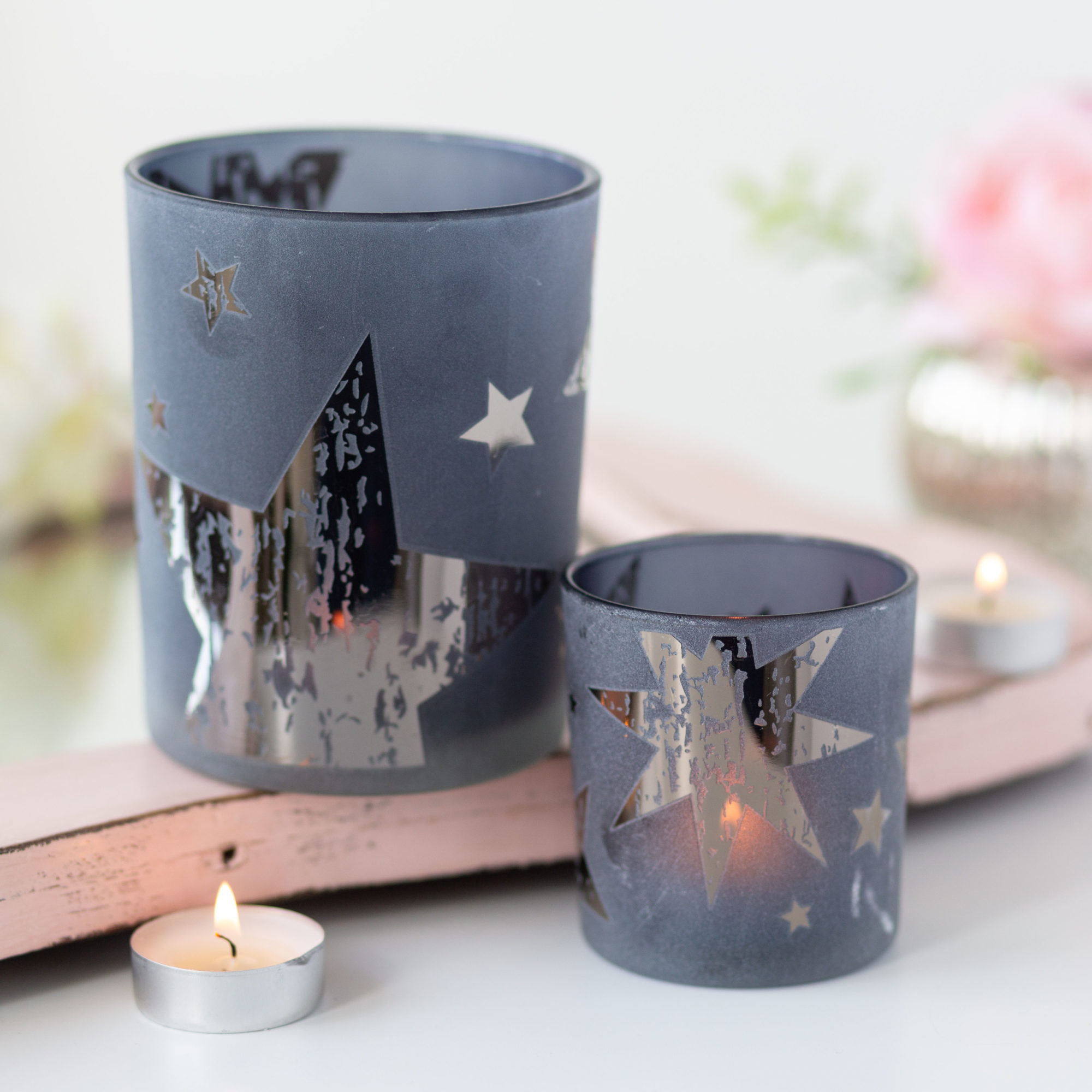 Blue With Silver Star Tealight Holders