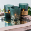 Teal & Gold Flocked Tealight Holders