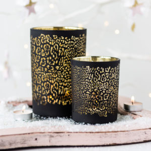 Black Leopard Design Tealight Holders