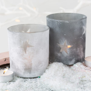 Concrete Effect Star Tealight Holders