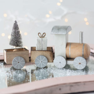 Silver Wooden Christmas Train