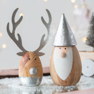 Set Of 2 Silver & Wooden Santa & Reindeer