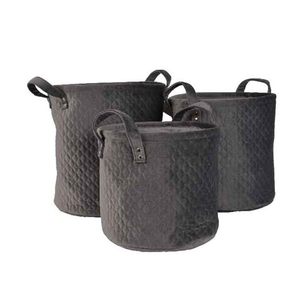 Set Of Three Grey Velvet Baskets
