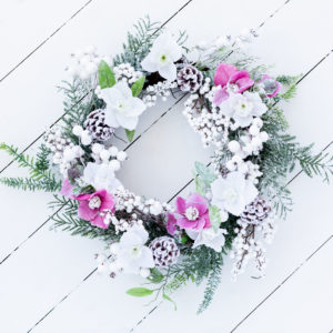 Christmas White & Pink Hydrangea Wreath