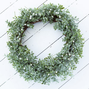 Christmas Silver Glitter Leaf Wreath