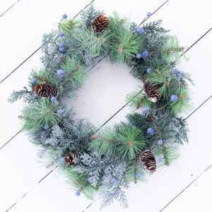 Christmas Blueberries & Pine Cone Wreath
