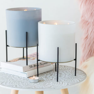 White Or Black Scented Candle In Stand