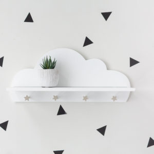 Cloud Shelf With Star Hooks