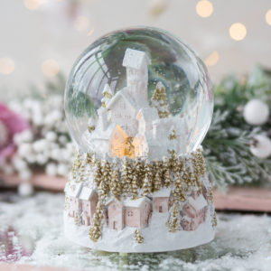 Pastel Village Christmas Musical Snowdome
