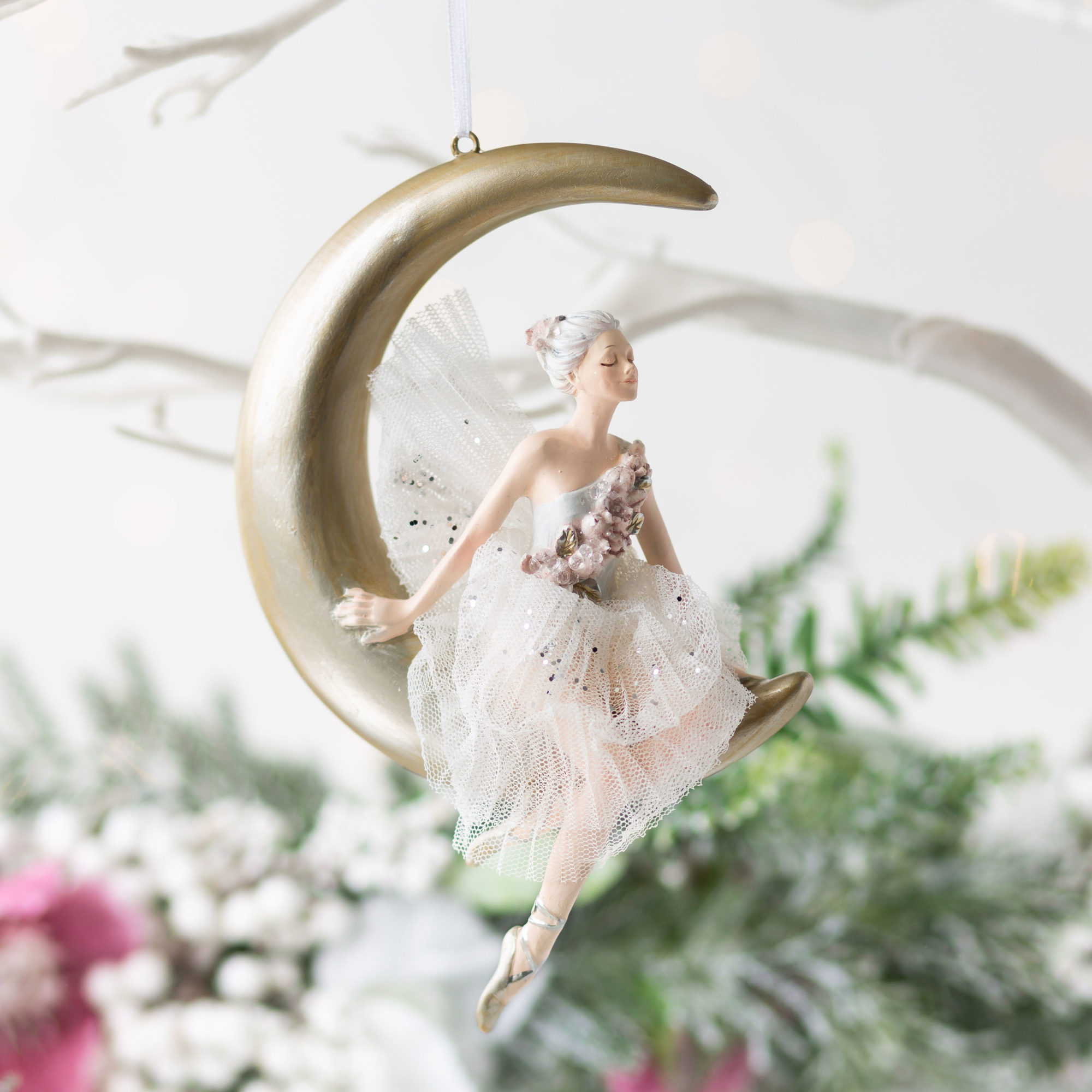 Ballerina On Moon Hanging Decoration
