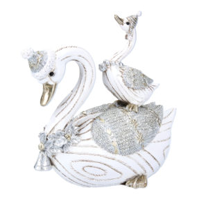 White Parent & Baby Swan Figurine