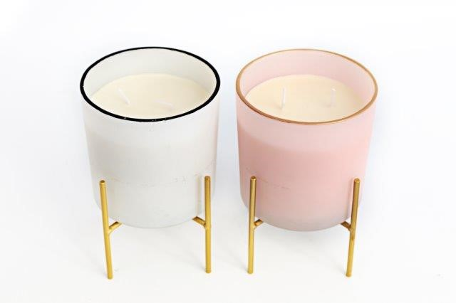 White Or Pink Scented Candle In Stand