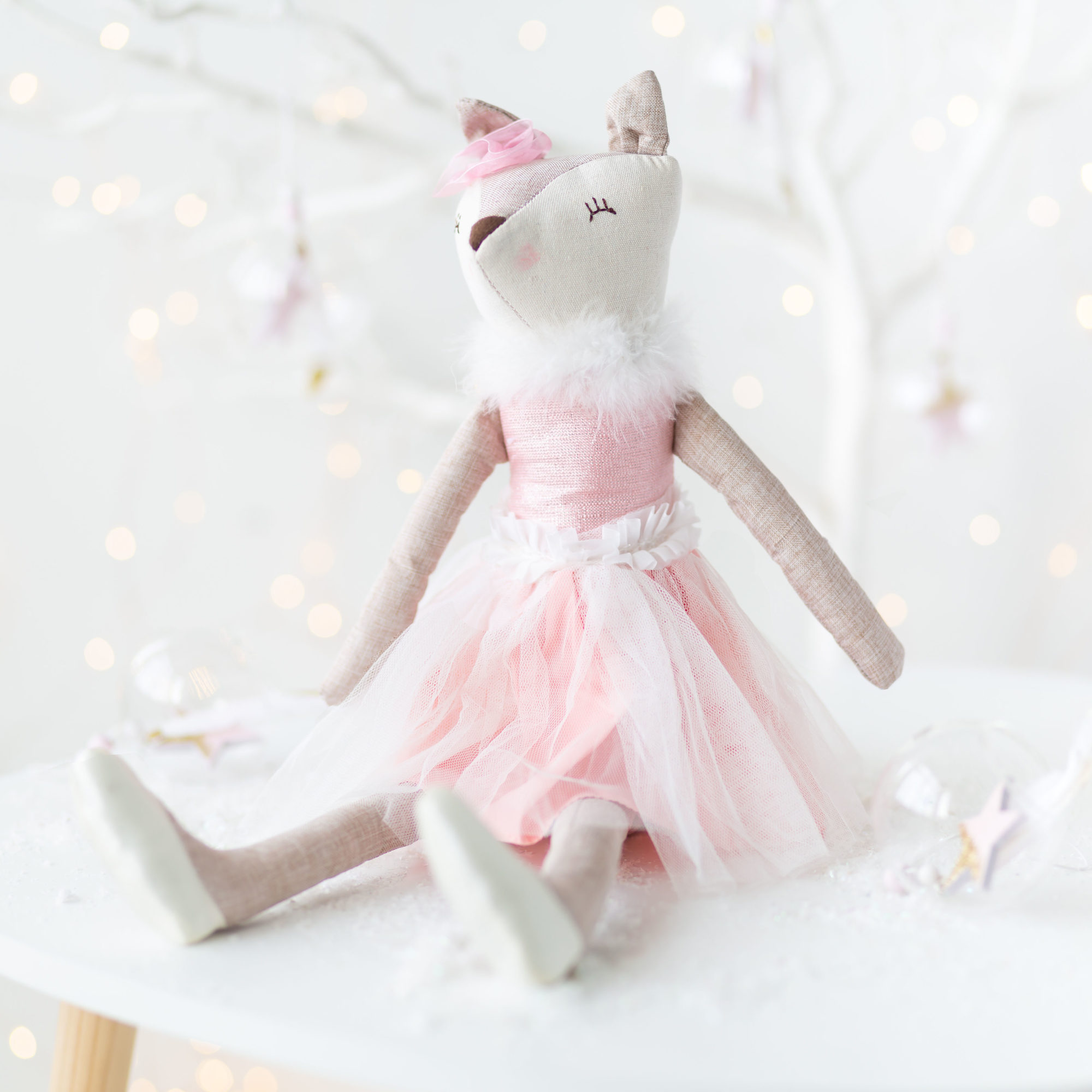 Fabric Sitting Ballerina Fox Ornament