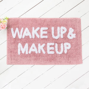 Wake Up & Makeup Pink Bath Mat