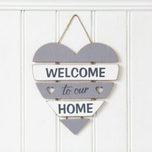 Welcome To Our Home Wooden Heart Plaque
