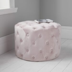 Round Pale Pink Tufted Velvet Pouffe