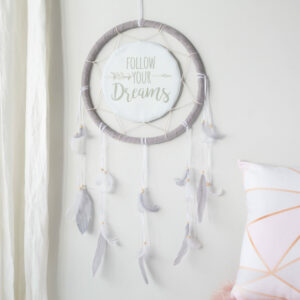 Pink or Grey Feather Dream Catcher