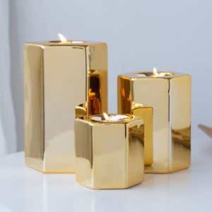 Set of 3 Geometric Design Gold Tealight Holders