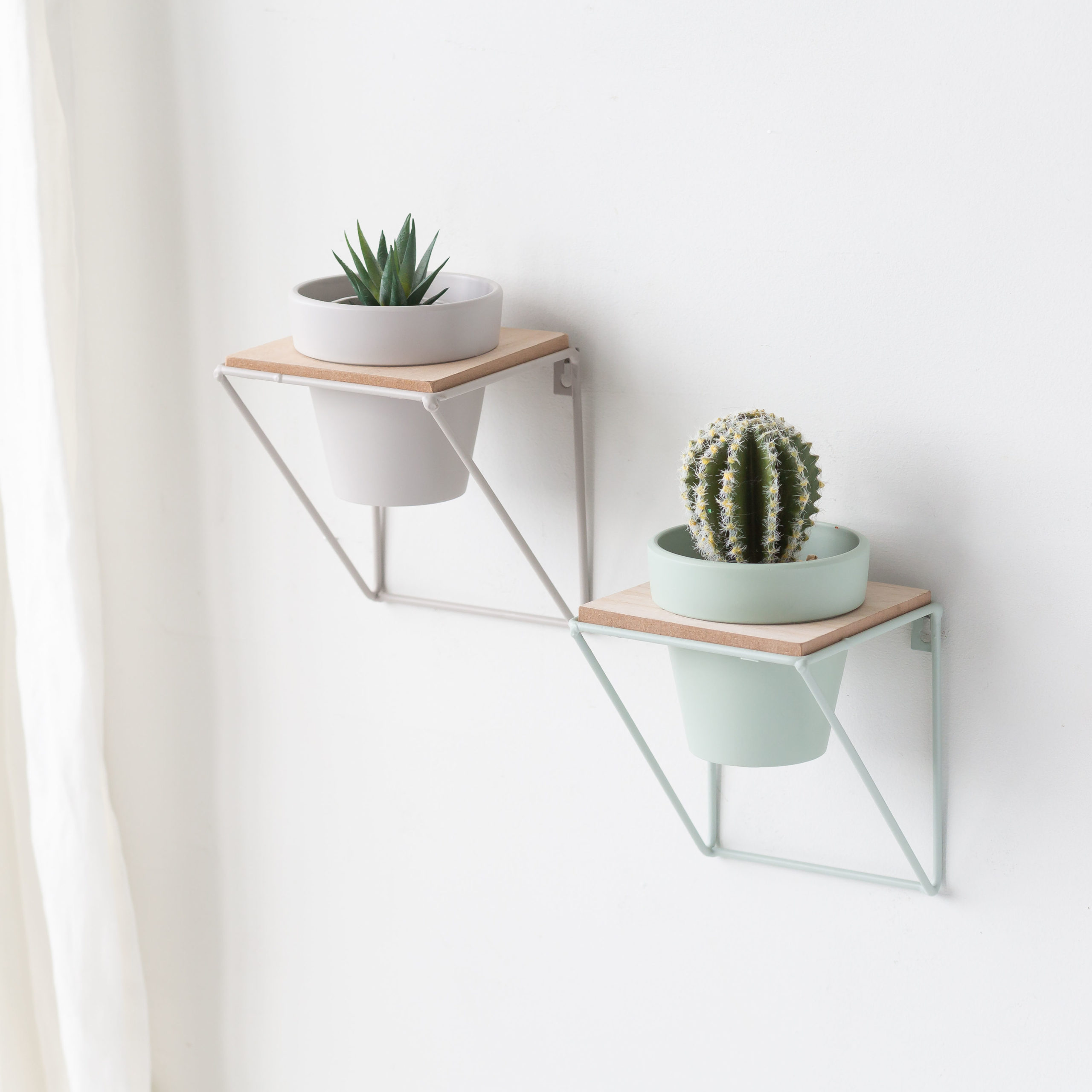 Green Or Grey Wire Frame Planter Shelf Love Unique Home Gifts