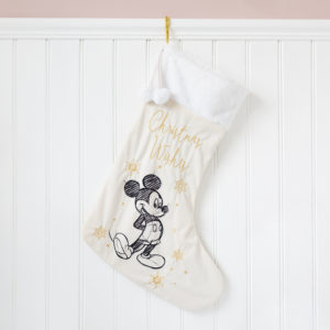 Disney Gold & White Velvet Mickey Christmas Stocking