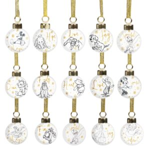 Set of 15 Christmas Disney Character Gold Ceramic Baubles