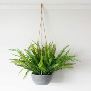 Large Faux Fern in Hanging Pot