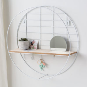 Round White & Wire Shelf Unit With Mirror