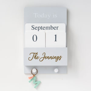 Grey Wall Calendar with Hooks