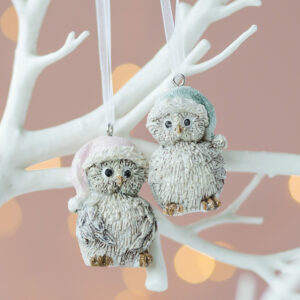 Christmas Set of Two Pastel Hanging Owls