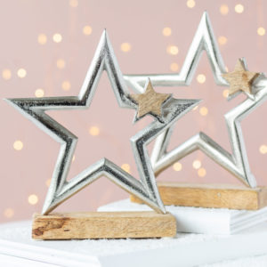 Christmas Star Ornament on Wooden Base