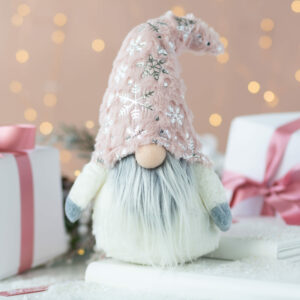 Pink & Silver Christmas Santa With Hat Decoration