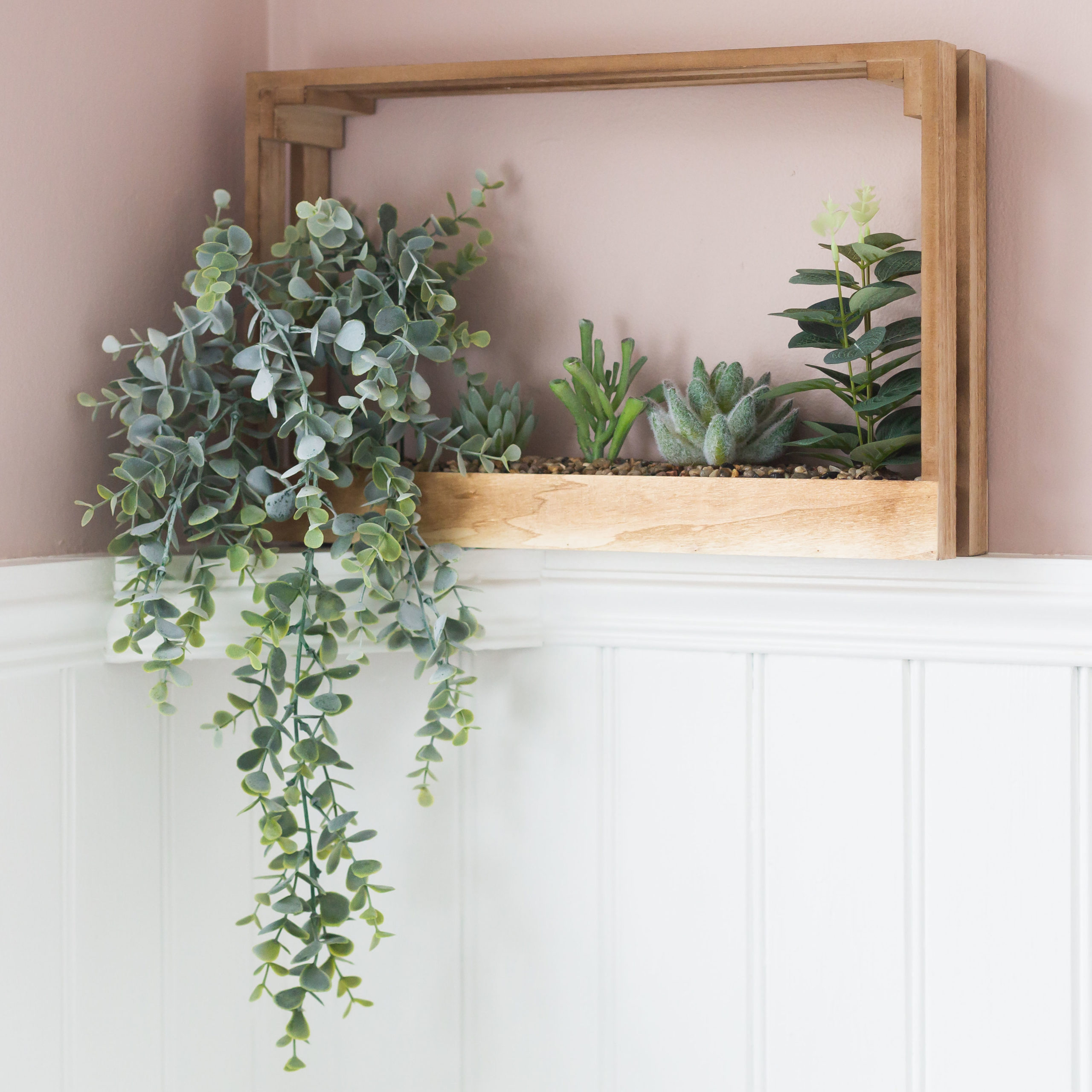 Succulent Wooden Wall Crate & Plants
