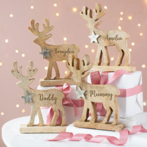 Personalised Wooden Engraved Reindeer Family Assortment