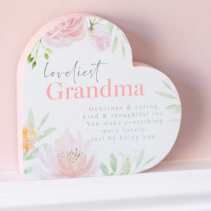 Loveliest Grandma Floral Wooden Heart Shape Plaque