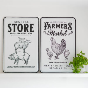 Vintage Large Store or Farmers White Metal Wall Plaque