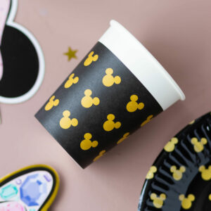 Disney Mickey Mouse Black & Gold Paper Cups