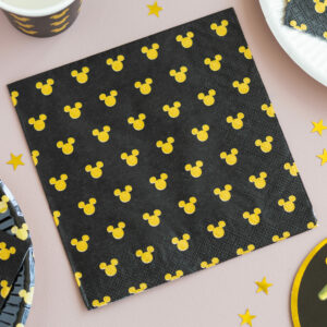Pack of 20 Disney Mickey Mouse Black & Gold Napkins