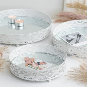 Set of 3 Mirrored White Candle Plates