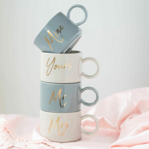 Set of 4 Small Mine & Yours, Mr & Mrs Stacking Mugs