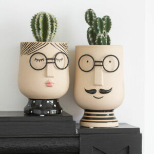 Lady or Man Character Clay Planter