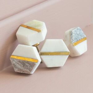 Set of 2 Marble Silver or Gold Door Knobs
