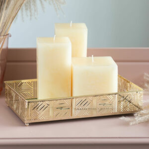 Mirrored Gold Lattice Candle Tray