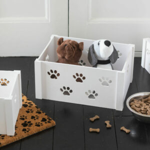 Set of 3 White Cut Out Paw Print Storage Crates