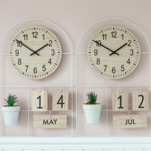 Grey or Green Potting Shed Clock & Calendar with Succulent