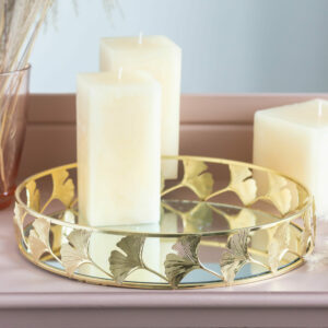 Mirrored Gold Lotus Flower Mirrored Candle Tray