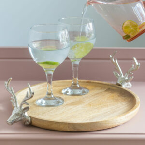 Wood & Metal Cake Stand With Reindeers