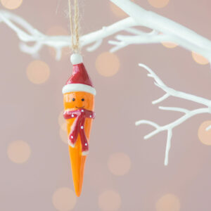 Set of Two Christmas Hanging Carrot Decoration