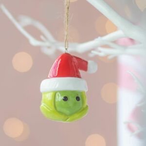 Set of two Ceramic Christmas Hanging Sprout Decorations