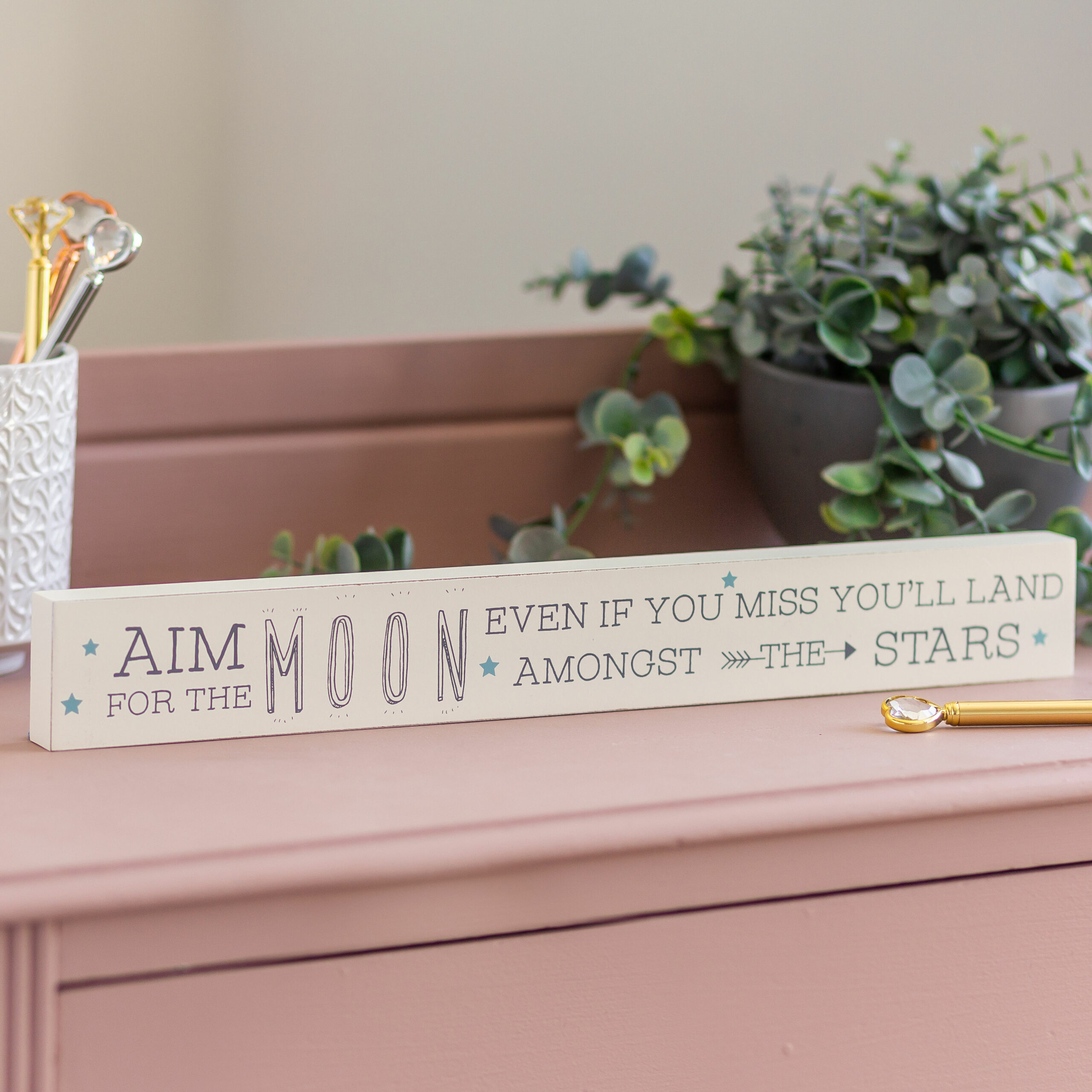 Aim For The Moon Wooden Plaque